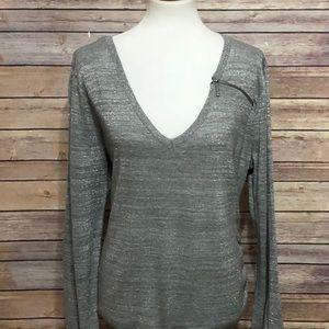 EUC DKNY Jeans Grey glitter vneck sweater XL